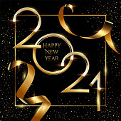 Happy new year greeting card vector template. Festive Christmas social media banner design with congratulations. Golden 2021 number in frame with confetti realistic illustration with typography