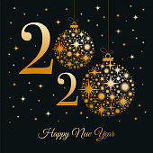2020 - Happy New Year Greeting card. Winter holiday design template.