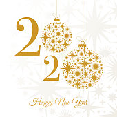 2020 - Happy New Year Greeting card. Winter holiday design template. stock illustration