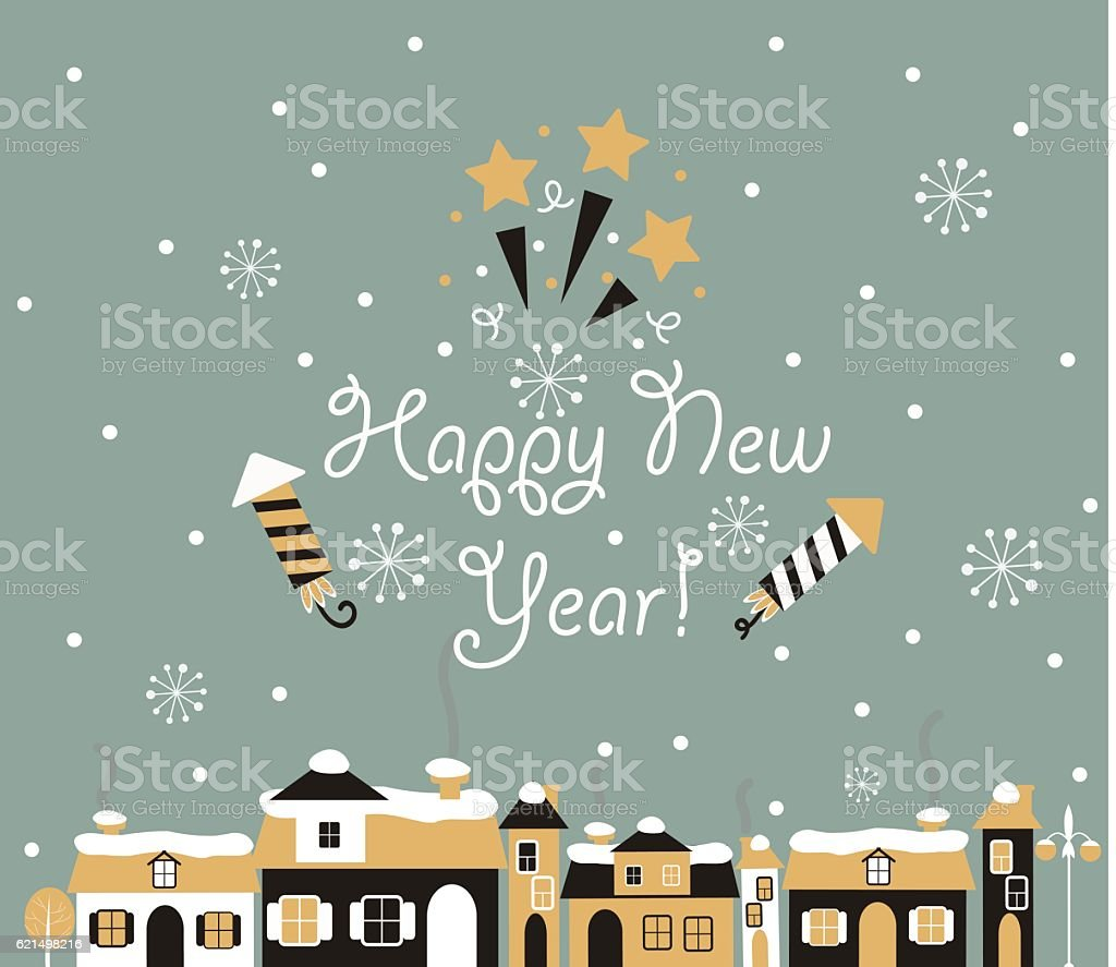 Happy new year Greeting Card, winter town. happy new year greeting card winter town – cliparts vectoriels et plus d'images de 2017 libre de droits