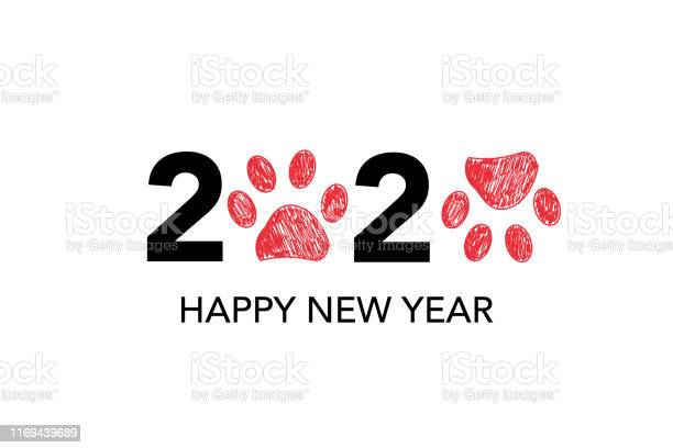 Happy new year greeting card with 2020 text and doodle red paw prints vector id1169439689?b=1&k=6&m=1169439689&s=612x612&h= a1b94u hr2fyk2to3jifedxiezlnk9g2o83aqmm8h0=
