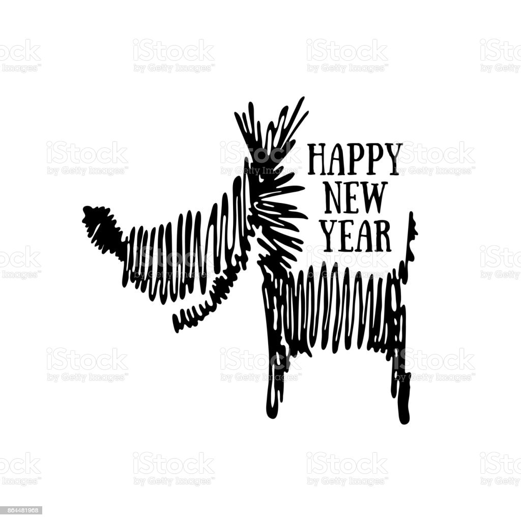 happy new year greeting card with a dog royalty free stock vector art