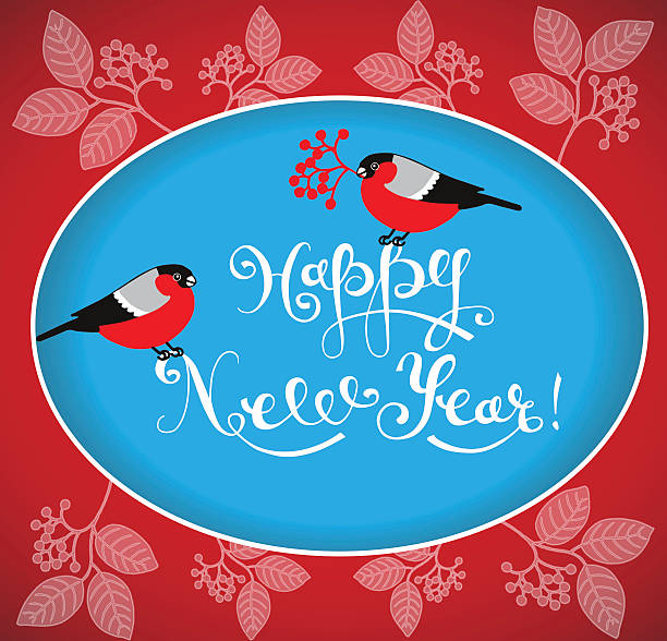 Happy New Year Greeting Card with bullfinches and handdrawn lettering. - Illustration vectorielle
