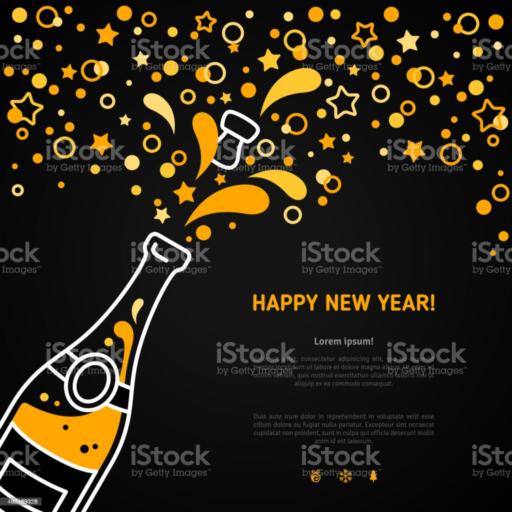 Happy New Year greeting card with champagne explosion bottle vector art illustration