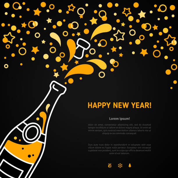 stockillustraties, clipart, cartoons en iconen met happy new year greeting card with champagne explosion bottle - kurk