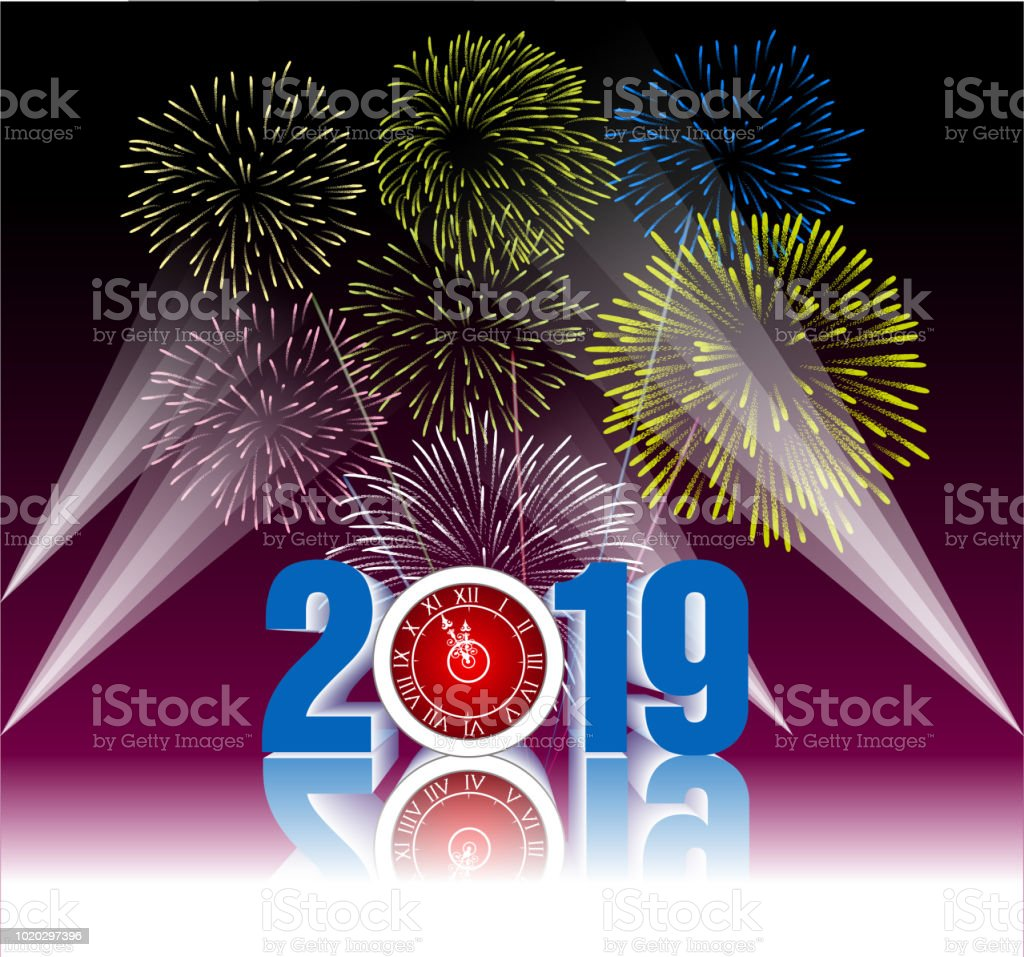 2019 happy new year greeting card with colorful fireworks vector 2019 happy new year greeting card with colorful fireworks vector design template royalty m4hsunfo