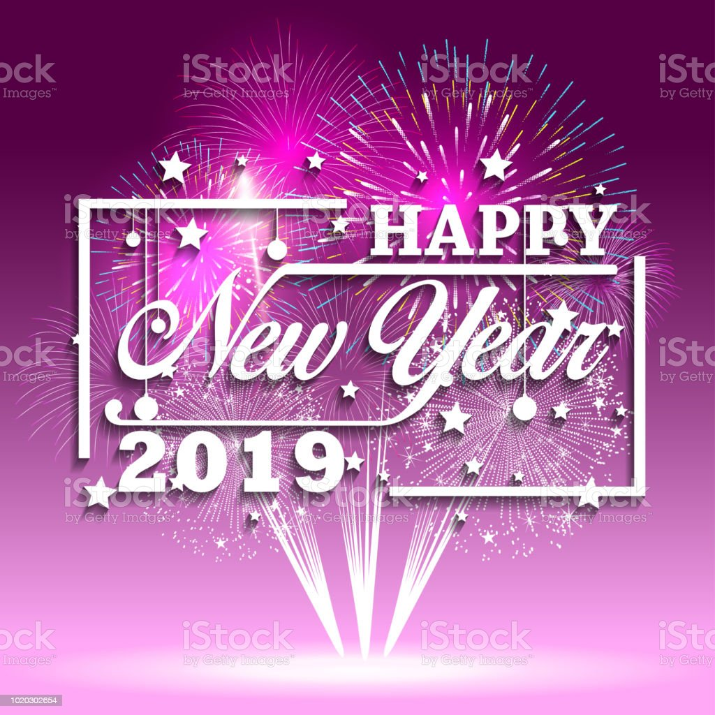 2019 happy new year greeting card with colorful fireworks vector design template royalty