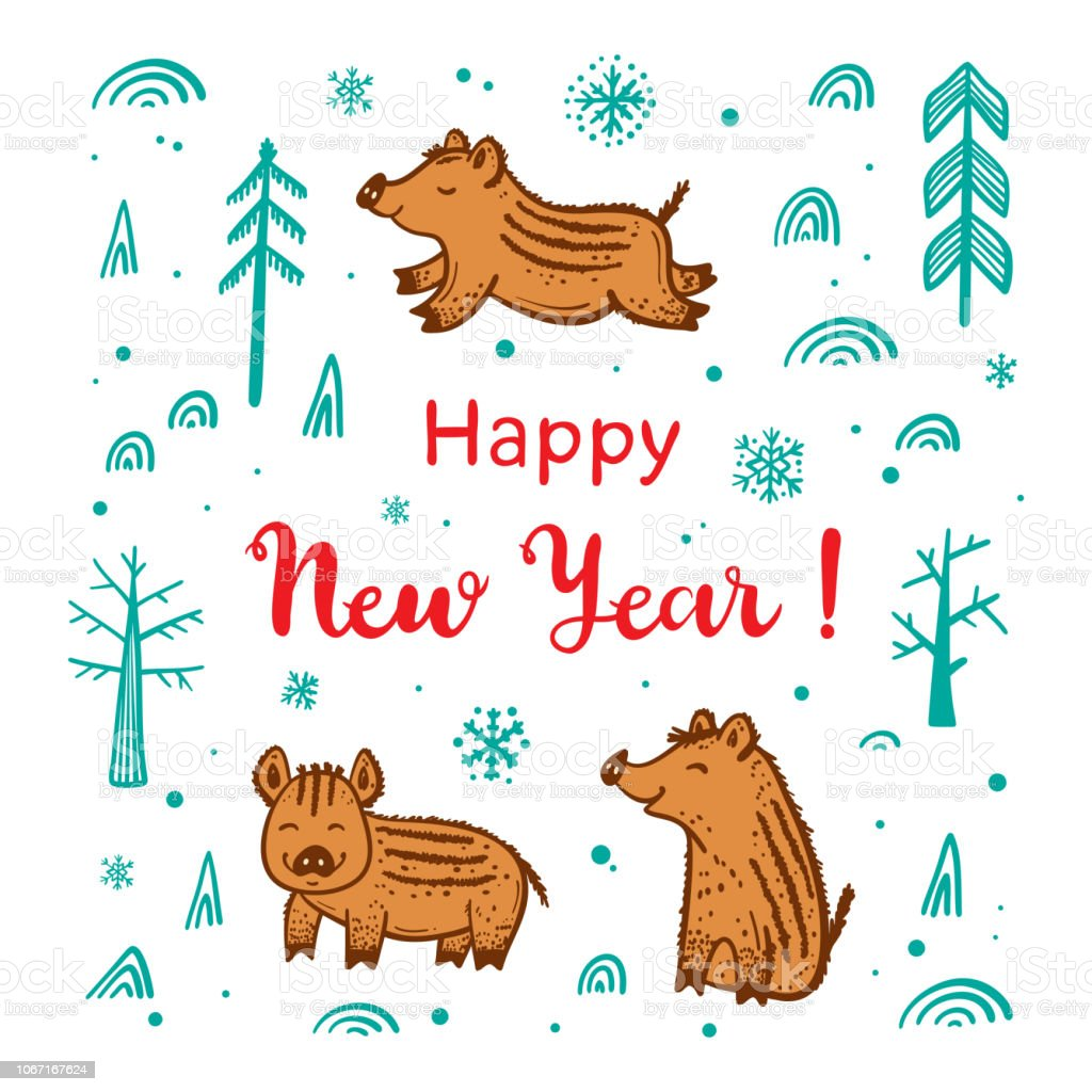 happy new year greeting card with cute boars hand drawn doodle cute wild pigs