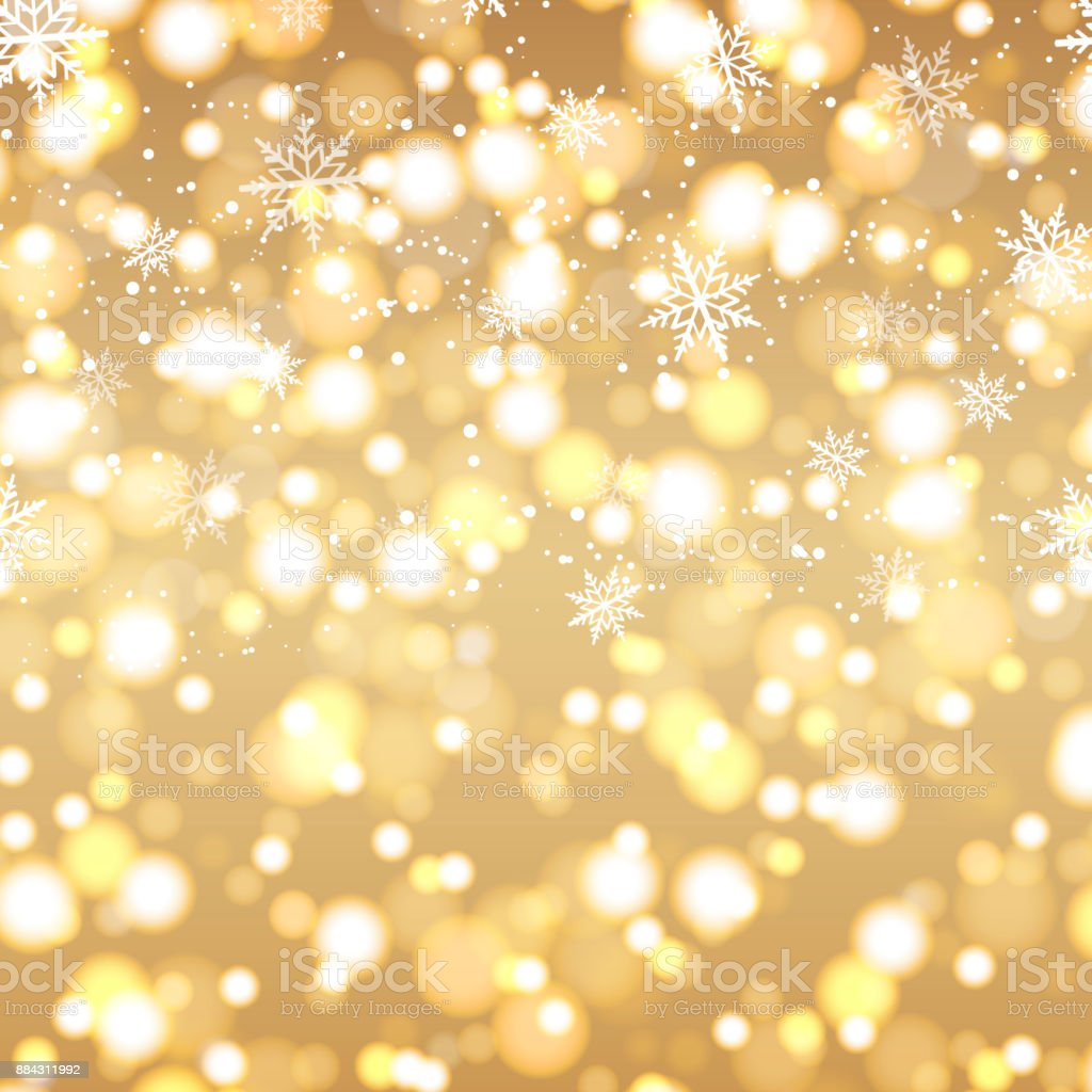 Happy New Year Greeting Card With Defocused Lights Background And Gold Text 2018 Vector