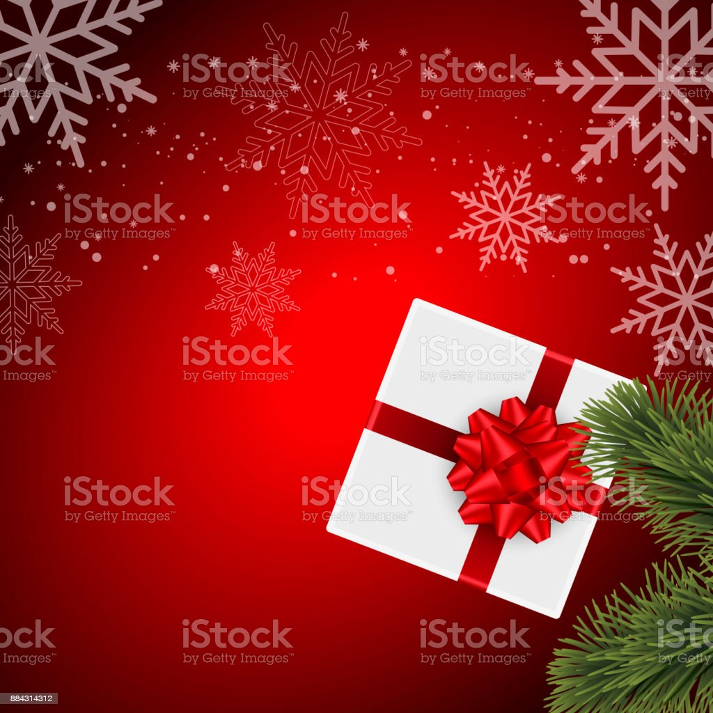 Happy New Year Greeting Card With Gift And Snow On Red Background ...