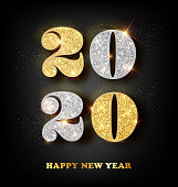 2020 Happy New Year 2020 Greeting Card with Gold and Silver Numbers on Black Background. Vector Illustration. Merry Christmas Design