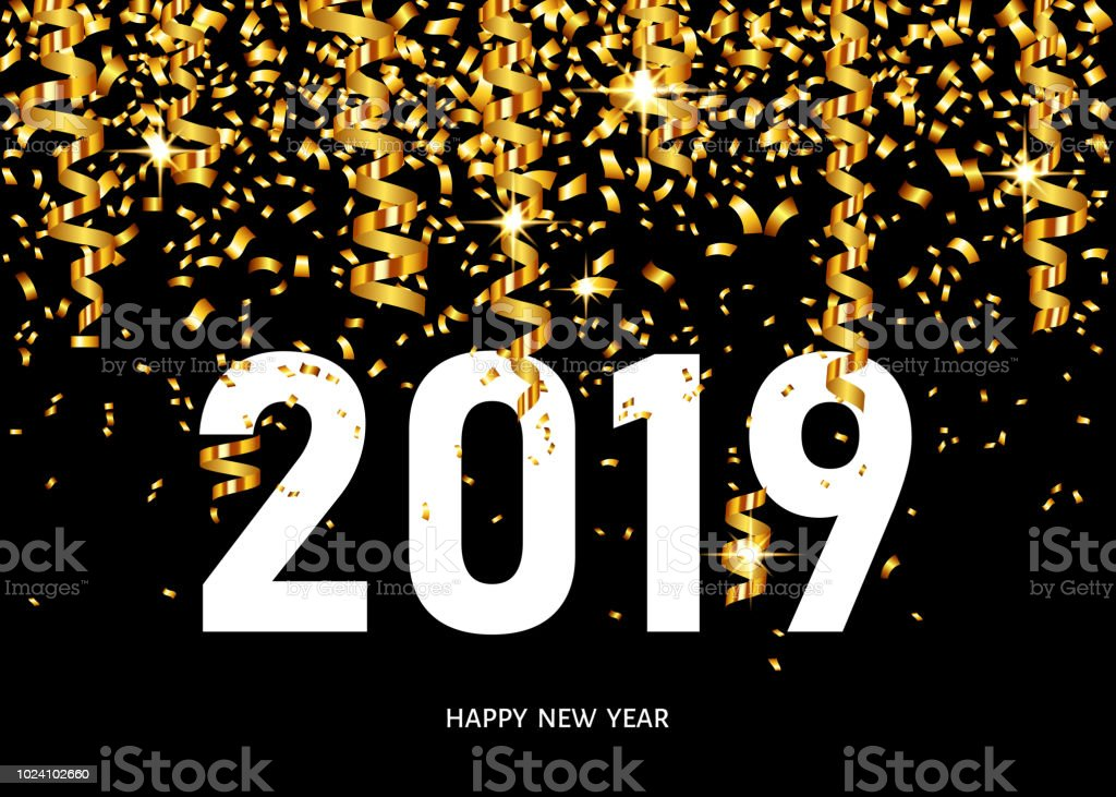 2019 happy new year greeting card with golden confetti royalty free 2019 happy new