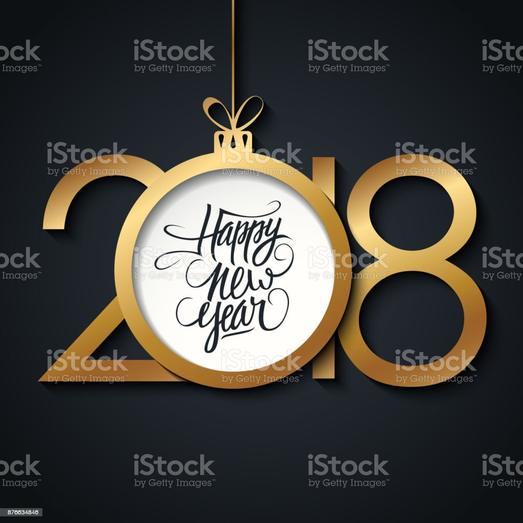2018 Happy New Year Greeting Card With Handwritten Holiday Greetings