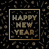 Happy New Year. Greeting card with inscription Happy New Year 2019. Fashion style for Happy New Year or Merry Christmas theme. Holiday background, banner, card and poster. Vector Illustration