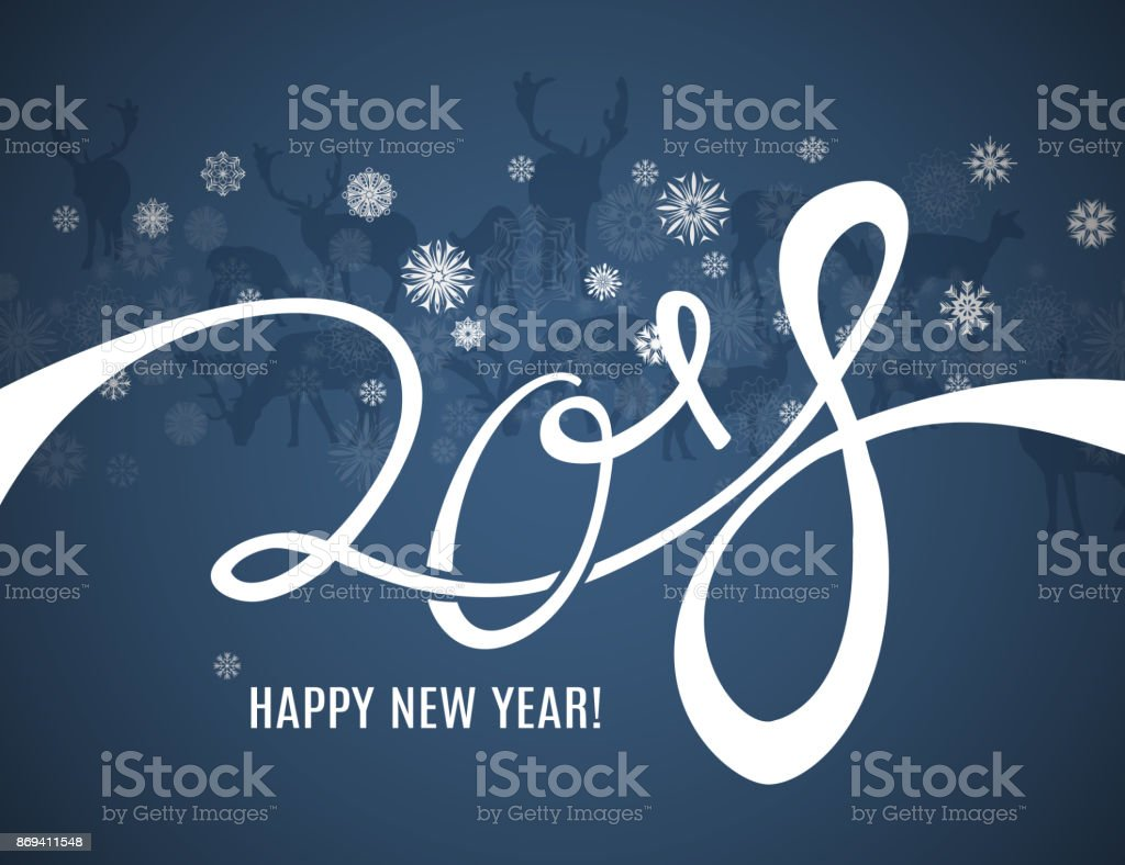 2018 happy new year greeting card with lettering deers silhouettes and snowflakes border pattern royalty