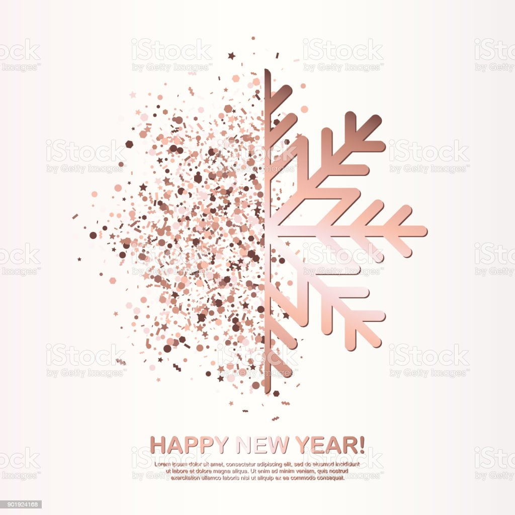 Happy New Year Greeting Card With Rose Gold Glowing Snowflake On ...