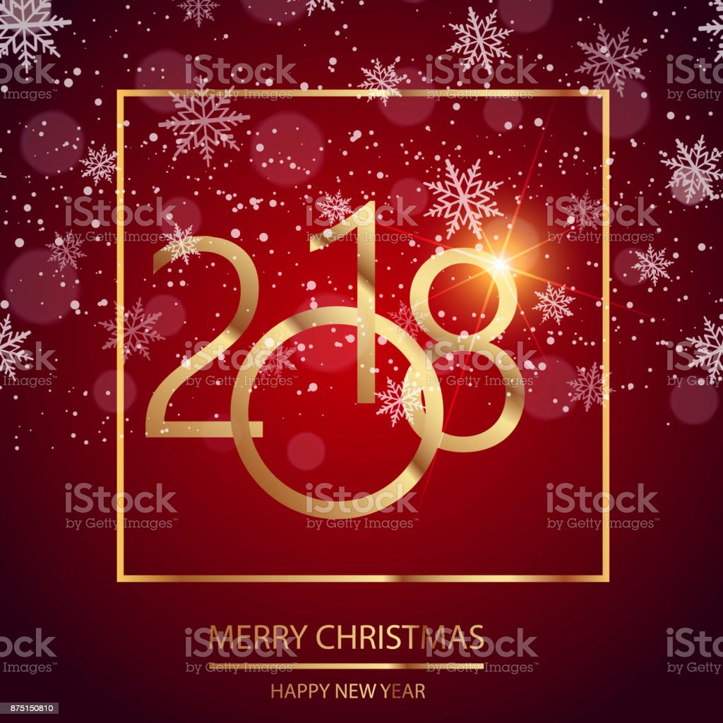 happy new year greeting card with shining gold text and snow on red background 2018