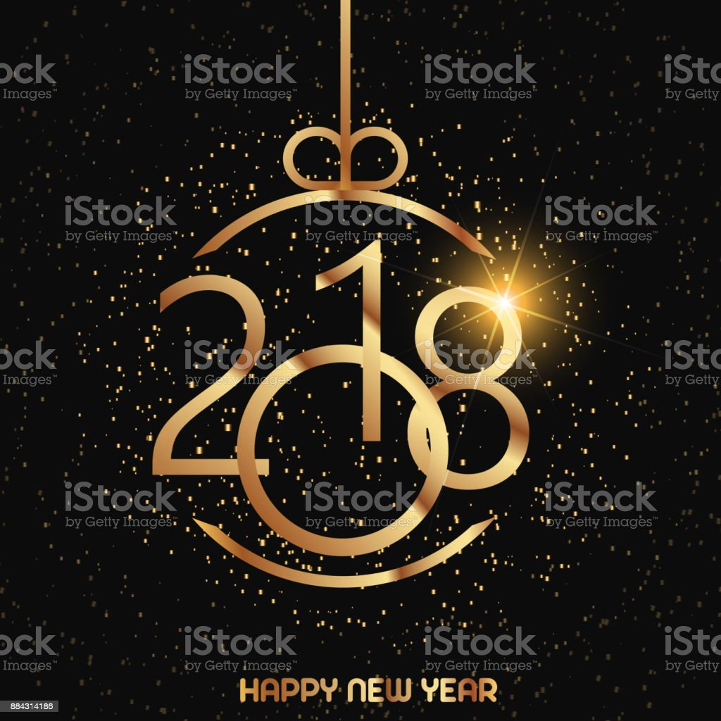 Happy New Year Greeting Card With Shining Gold Text And Snow On Red