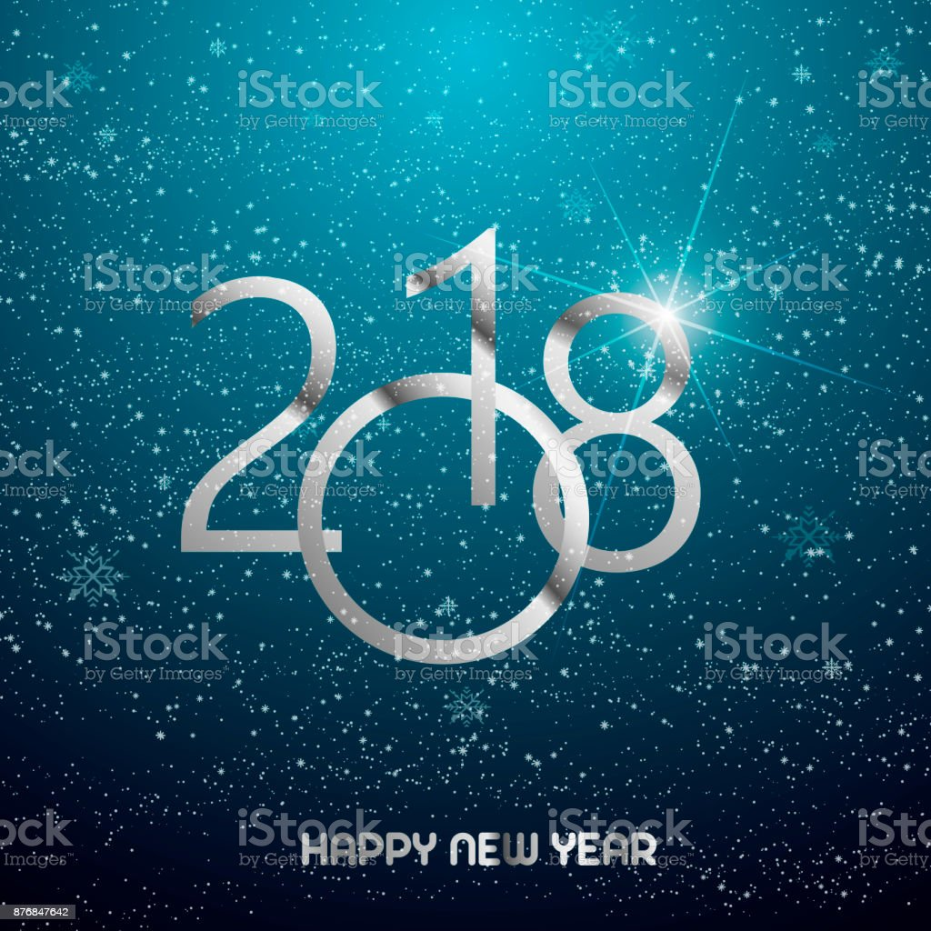 Happy new year greeting card with shining silver text and snow on happy new year greeting card with shining silver text and snow on blue background 2018 m4hsunfo
