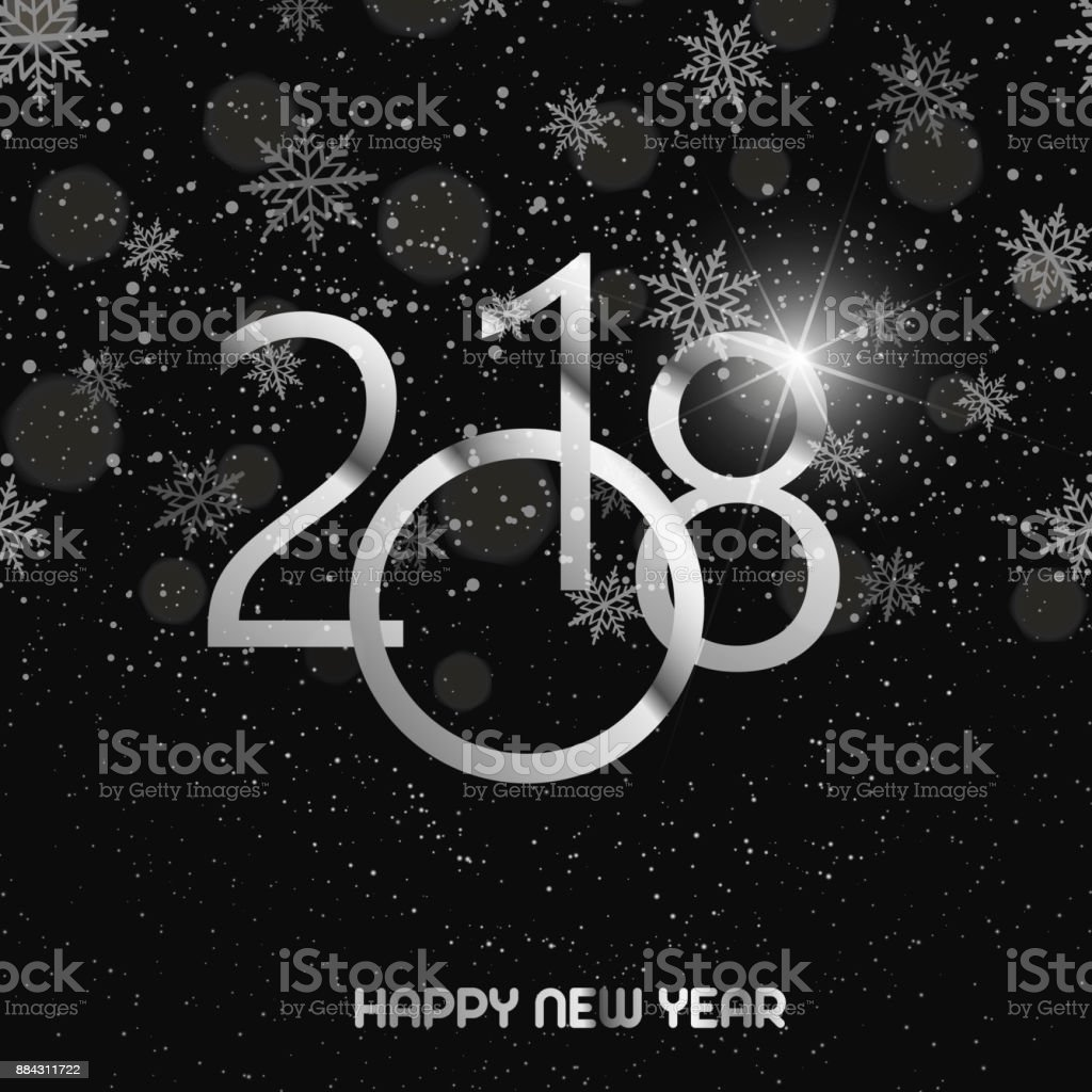 happy new year greeting card with shining silver text and snow on black background 2018