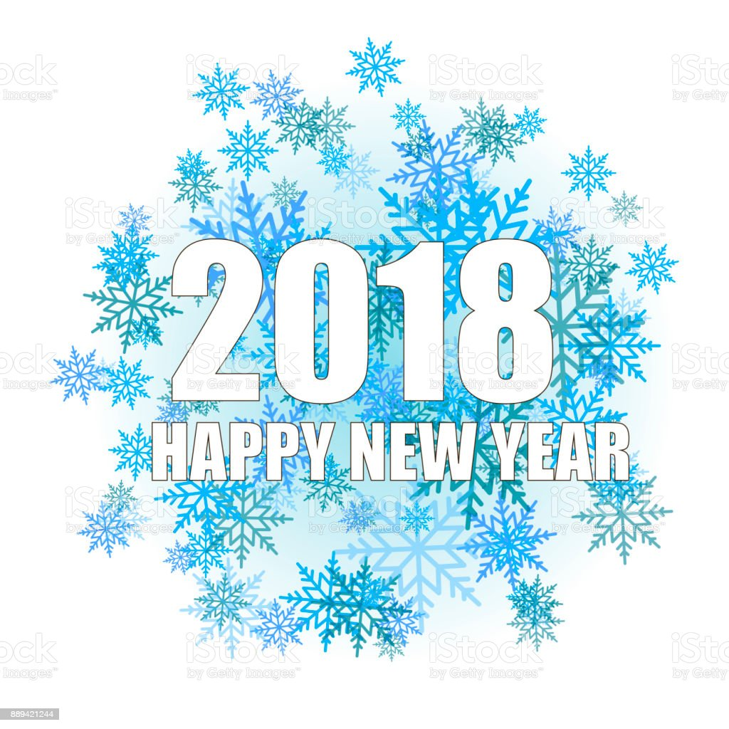 happy new year greeting card with shining white text and snow on white background 2018