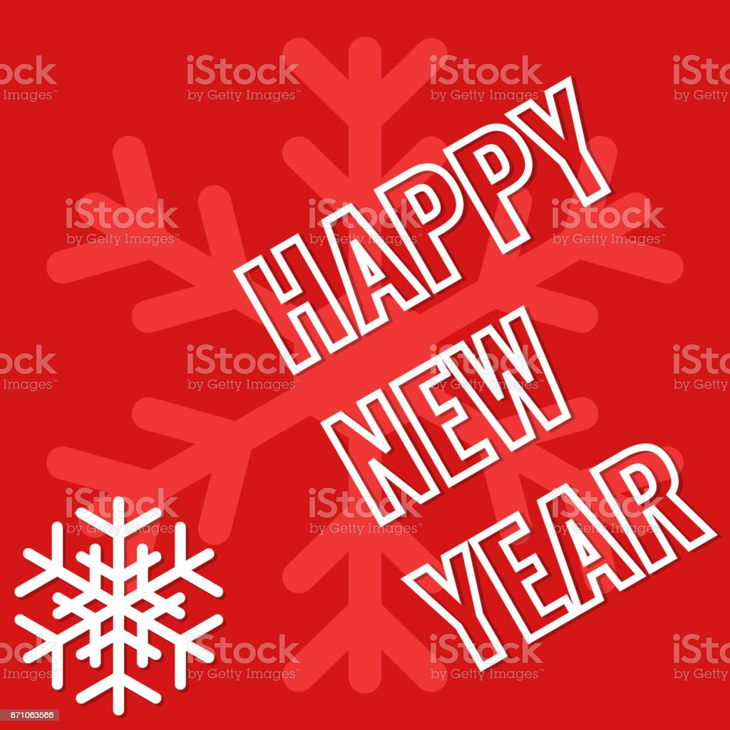 Happy New Year, greeting card with snowflake background vector art illustration