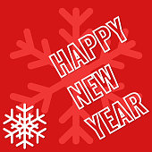 Happy New Year, greeting card with snowflake background