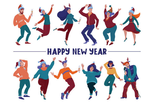 Happy New Year greeting card with text and happy people, men and women, in Christmas hats and horns holding glasses, dancing happily at the party, flat vector illustration isolated on white background Happy New Year greeting card with text and happy people, men and women, in Christmas hats and horns holding glasses, dancing happily at the party, flat vector illustration isolated on white background champaign illinois stock illustrations