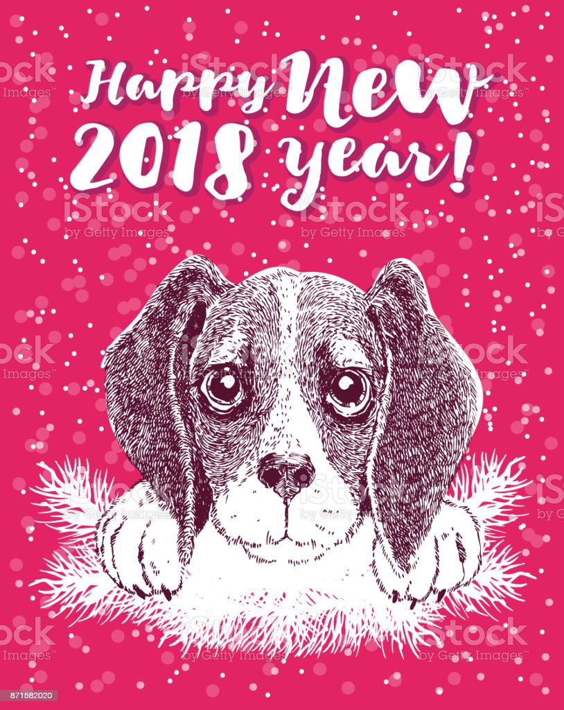 Happy new year greeting card with vector portrait of funny dog with happy new year greeting card with vector portrait of funny dog with antler cute beagle m4hsunfo