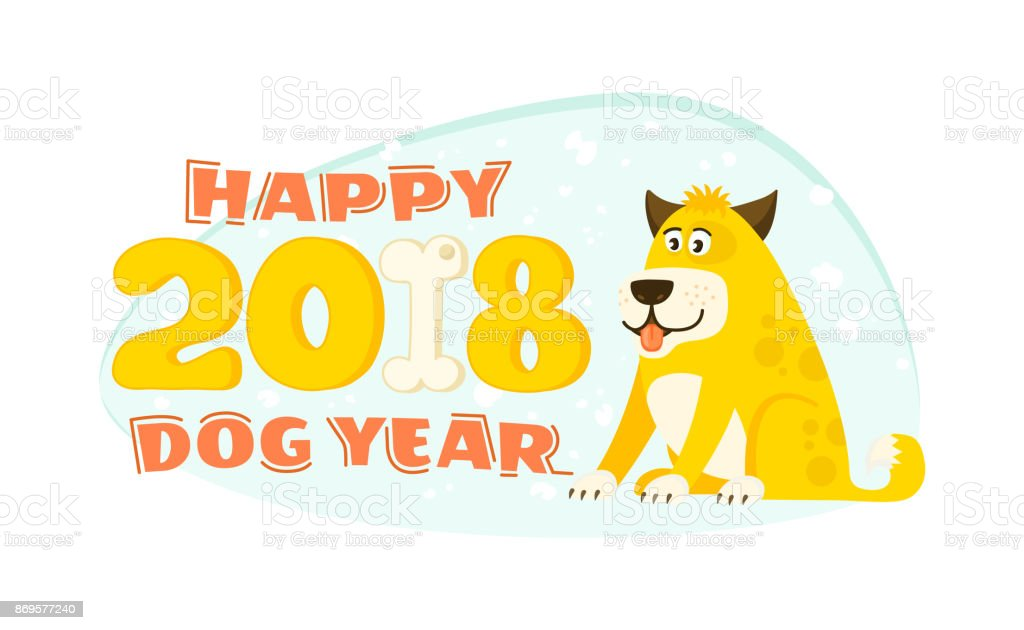 carte de voeux de bonne ann e 2018 avec chien mignon jaune stock vecteur libres de droits. Black Bedroom Furniture Sets. Home Design Ideas