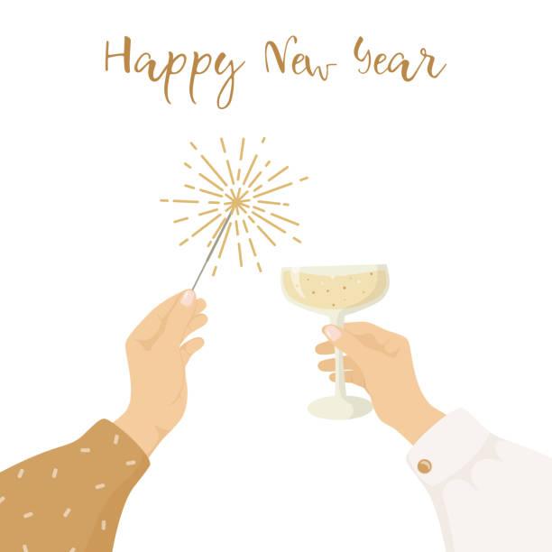 bildbanksillustrationer, clip art samt tecknat material och ikoner med gott nytt år gratulationskort. kvinnors händer håller ett glas champagne och tomtebloss. trendig vektor illustration. inbjudan från en part. - hand tänder ett ljus