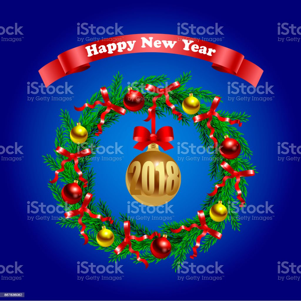 Happy New Year. Greeting poster. vector art illustration