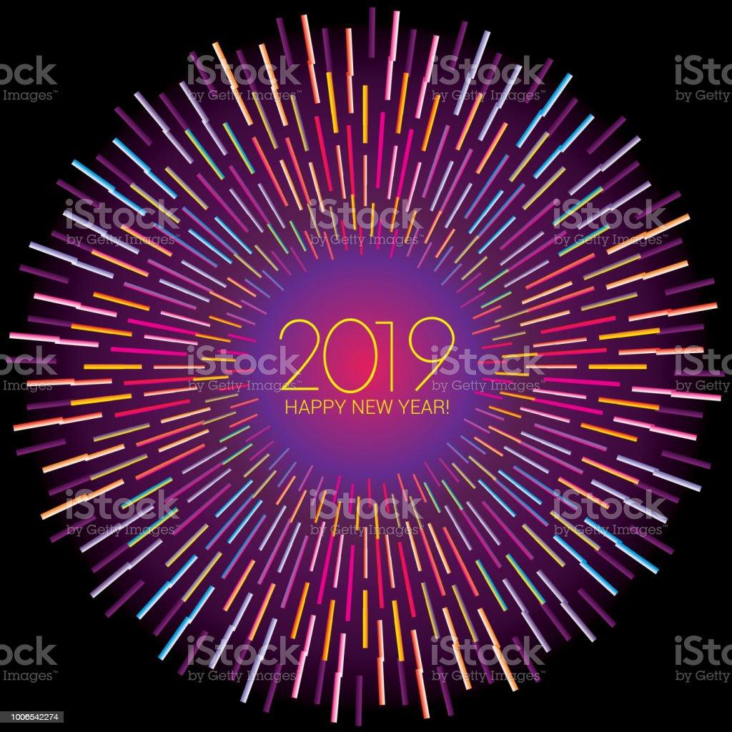 Frohes Neues Jahr Gruß Wünsche Mit Kreisförmigen Techno Multi Farbe ...