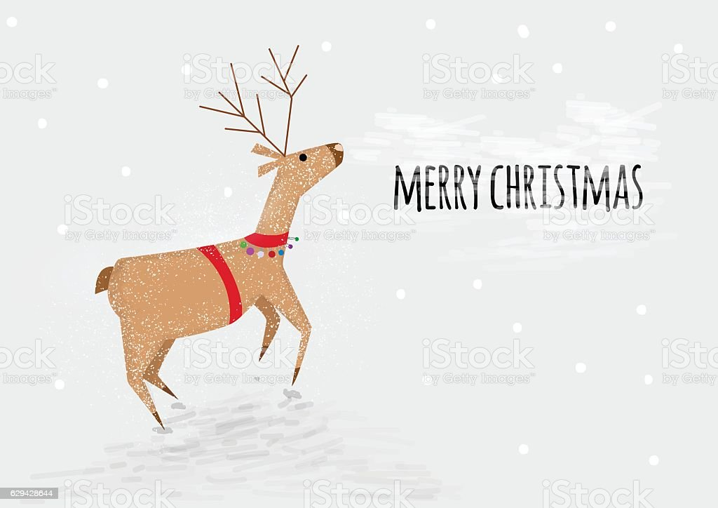 Happy New Year Greetings Card Funny Cartoon Deer Jumping stock ...
