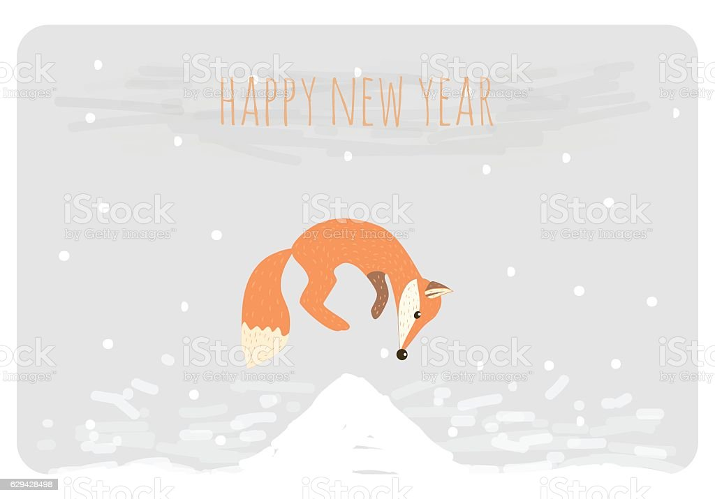 Happy New Year Greetings Card Funny Cartoon Fox Jumping Stock Vector ...