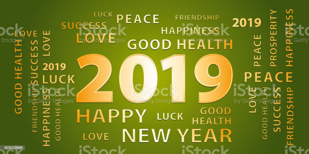 2019 happy new year greetings vector banner green and gold royalty free 2019