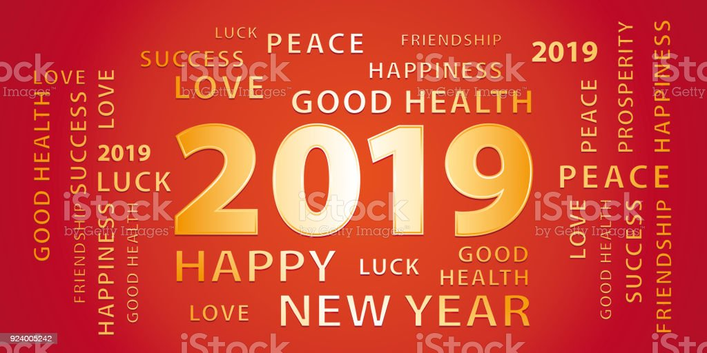 2019 happy new year greetings vector banner red and gold royalty free 2019