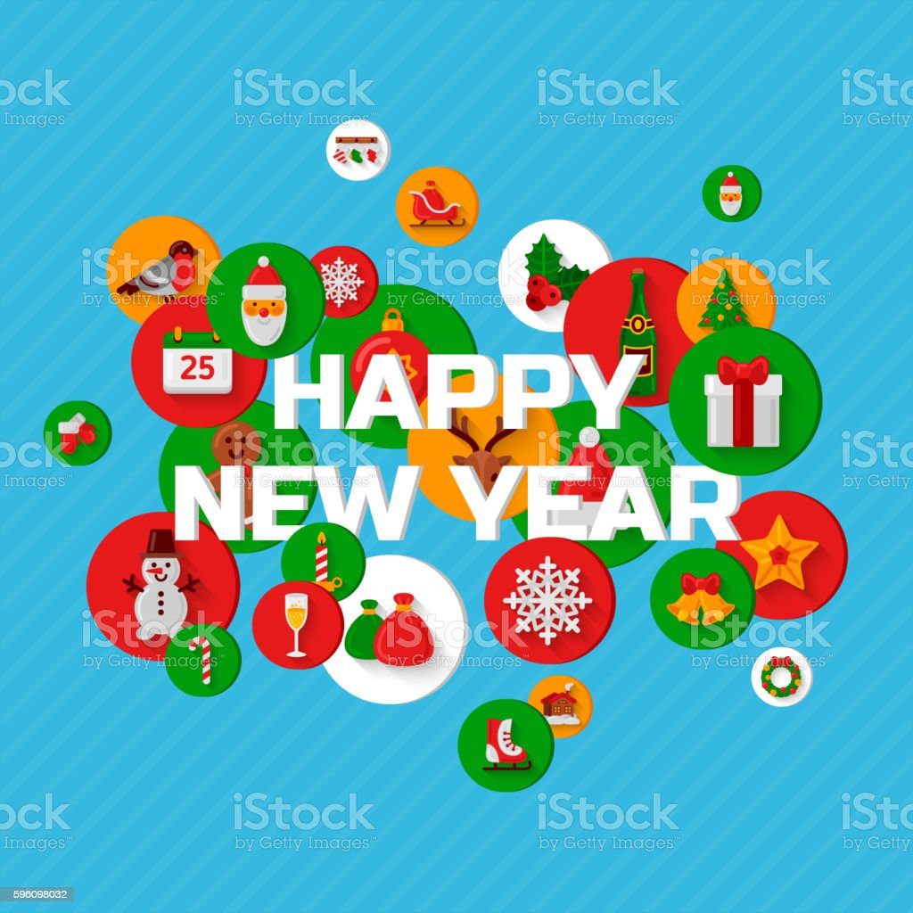 Happy New Year greetings with holiday flat icons royalty-free happy new year greetings with holiday flat icons stock vector art & more images of backgrounds