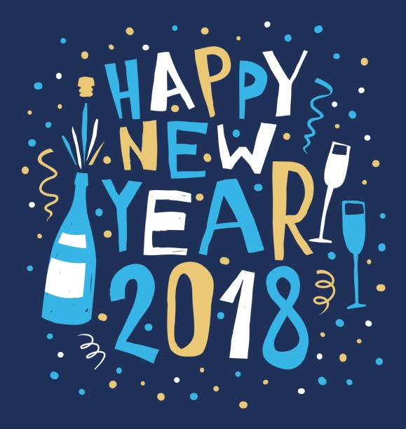 happy new year hand drawn card vector art illustration