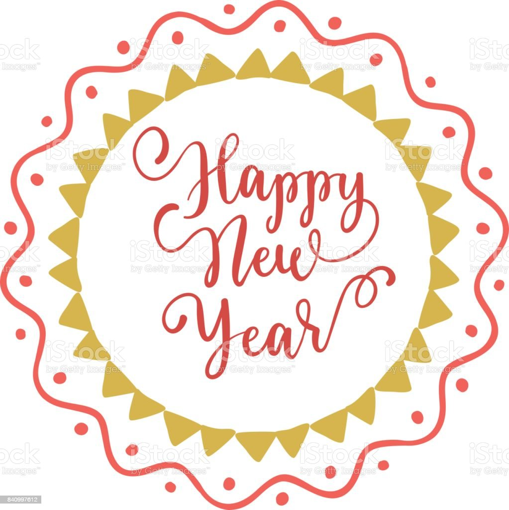 Happy New Year Hand Lettering On Speech Bubble Background Vector ...