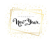 Happy New Year hand written lettering. Golgen glitter and gold star. Vector