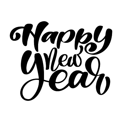 Happy New Year hand-lettering text. Handmade vector Christmas calligraphy. Decor for greeting card, photo overlays, t-shirt print, flyer, poster design