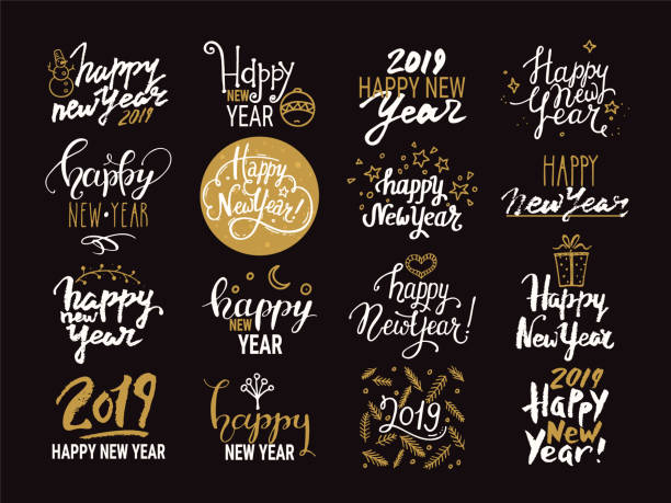 happy new year. handwritten lettering collection. vector clipart illustrations isolated on background. - happy new year stock illustrations