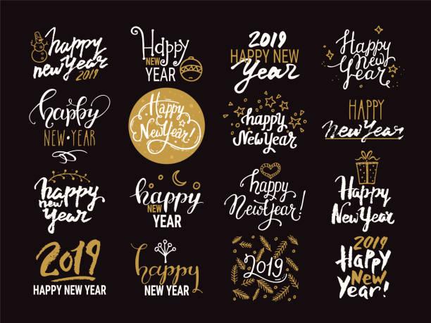 ilustraciones, imágenes clip art, dibujos animados e iconos de stock de feliz año nuevo. manuscrito colección de letras. imágenes prediseñadas ilustraciones de vectores aisladas sobre fondo. - víspera de año nuevo