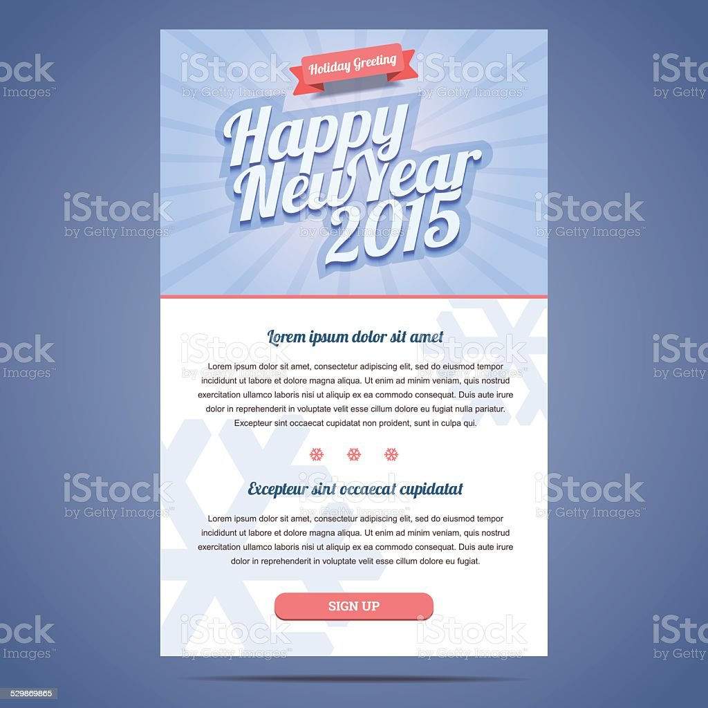 Happy New Year Holiday Greeting Email Template Stock Vector Art