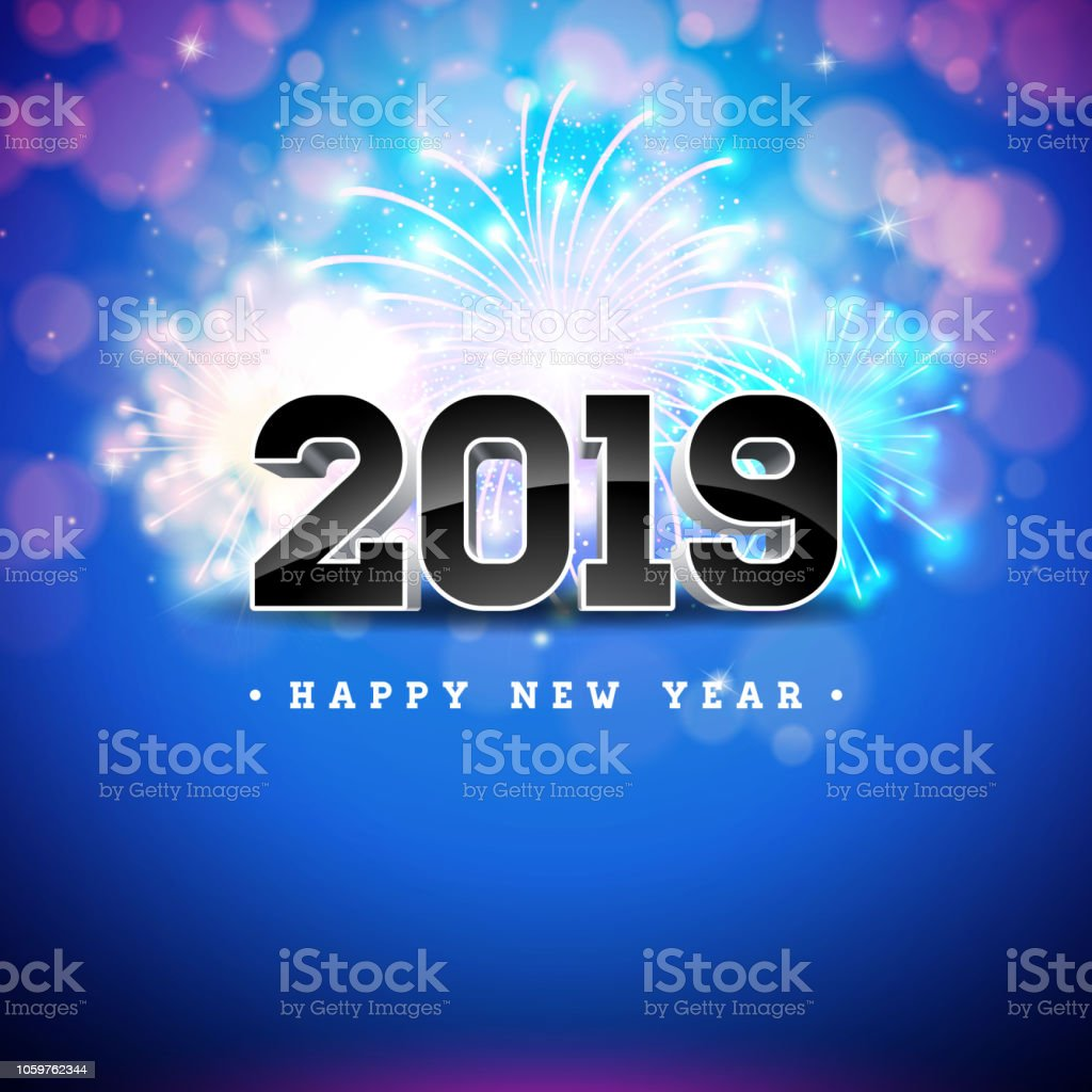 2019 Happy New Year Illustration With 3d Number On Shiny Blue