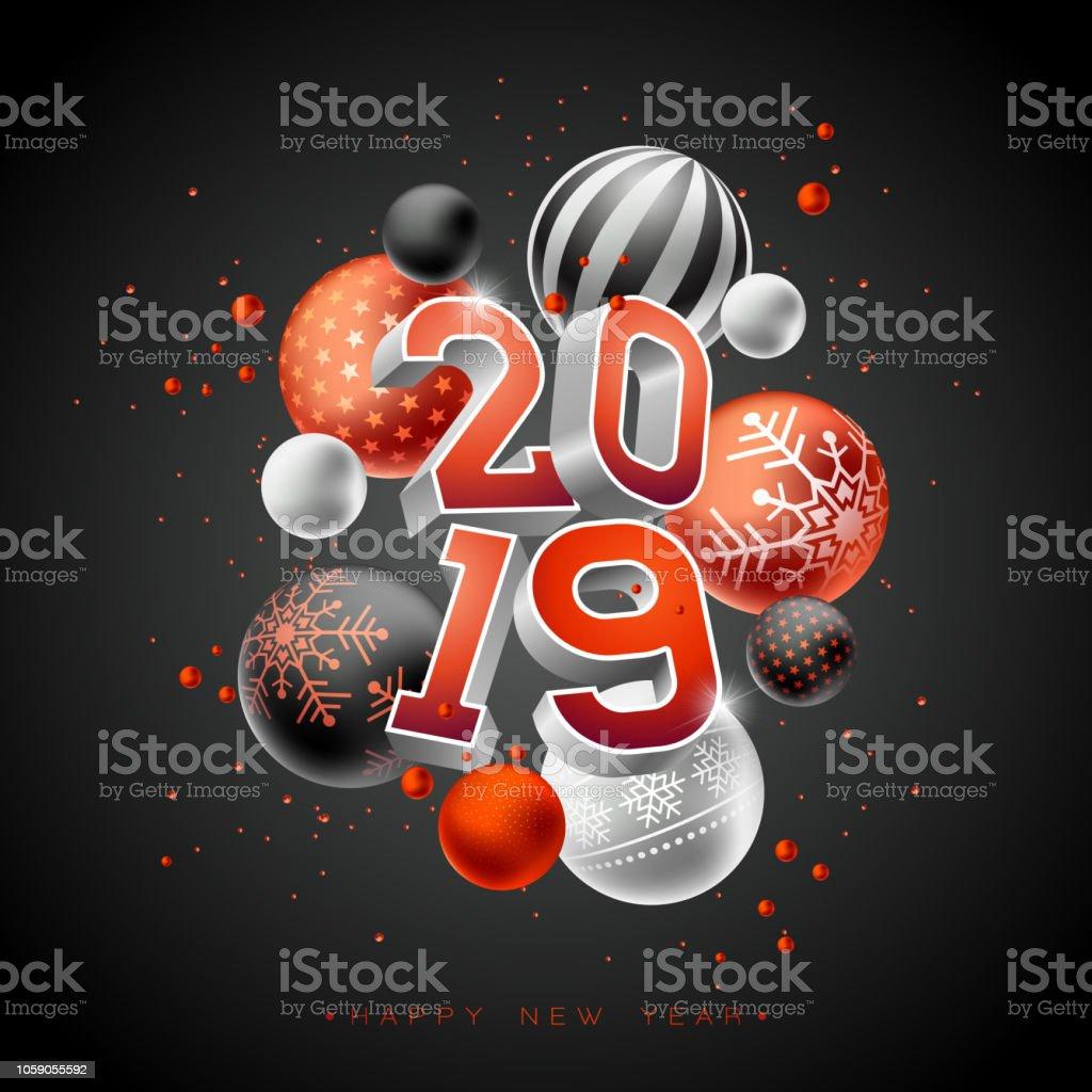 Illustration De Happy New Year 2019 Avec 3d Typographie Lettrage Et