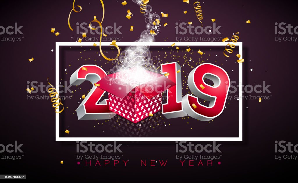 2019 Happy New Year Illustration With 3d Typography Lettering Gift