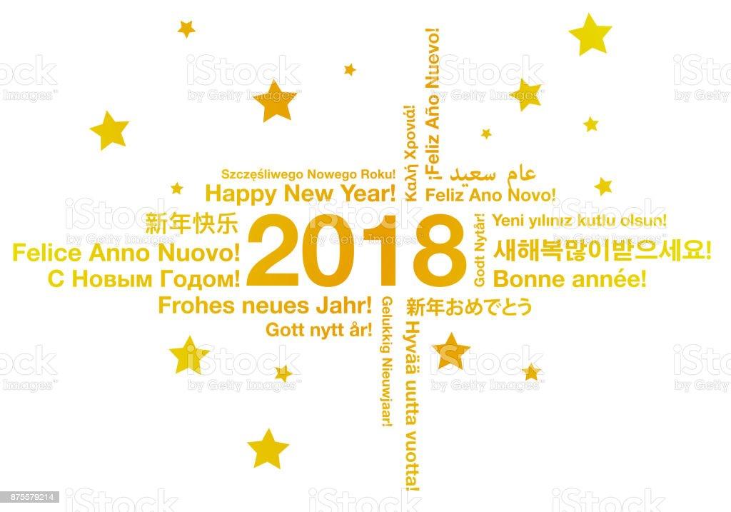 Feliz año nuevo en concepto de tarjeta de felicitación de diferentes idiomas ilustración de feliz año nuevo en concepto de tarjeta de felicitación de diferentes idiomas y más vectores libres de derechos de 2018 libre de derechos