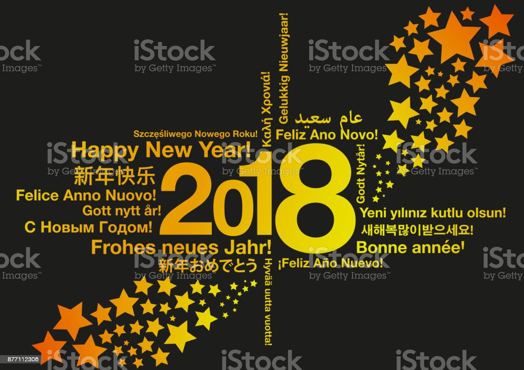 Happy new year in different languages with stars greeting card happy new year in different languages with stars greeting card concept royalty free happy new m4hsunfo